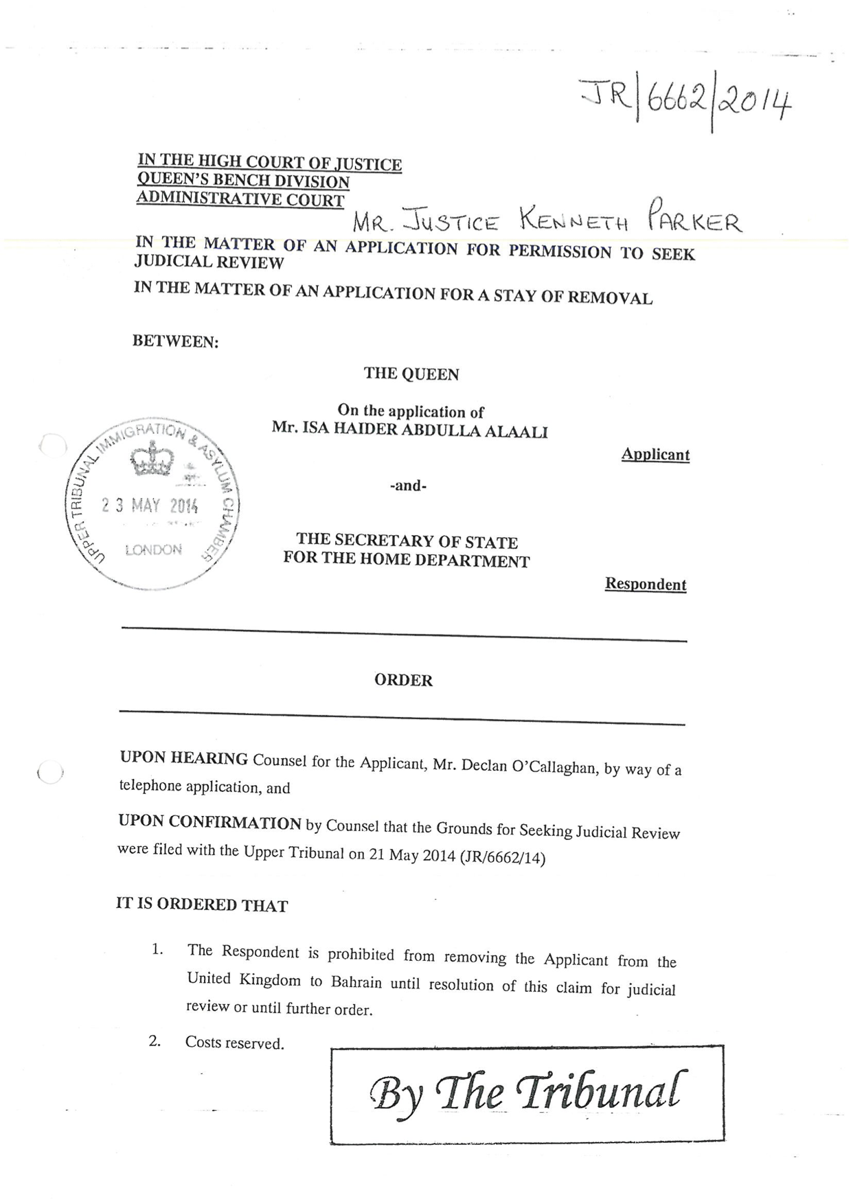 UK Court order 21 May 14