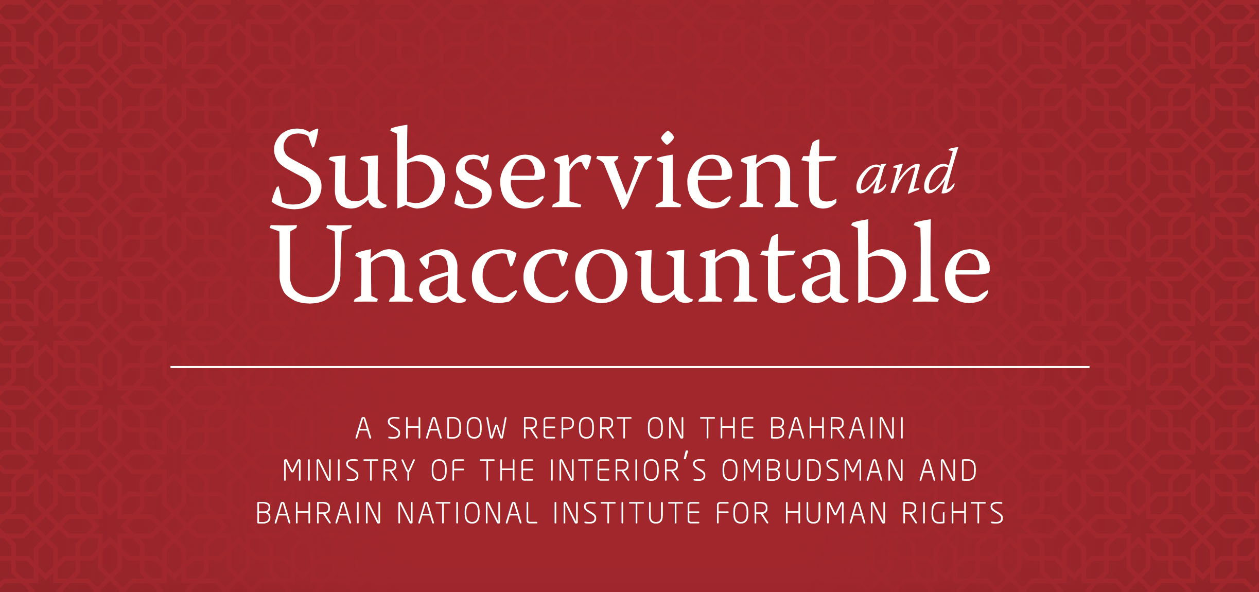 Subservient and Unaccountable: A Shadow Report on the MOI Ombudsman and NIHR