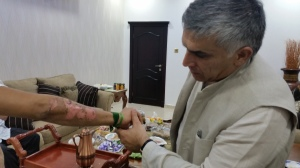 Nabeel Rajab meeting with an ex-inmate after the March riot.