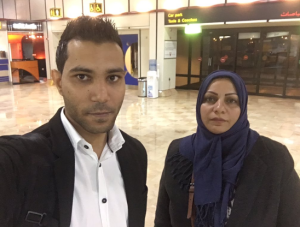 Activists at Bahrain's airport, after being banned from travel.