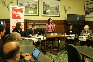 Event panel, from left to right: Brittany Hamzy, James Lynch, Margaret Ferrier MP, Parosha Chandran, Baroness Butler-Sloss