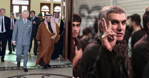 Left: Prince Charles with the Crown Prince of Bahrain in 2014 (Press Association). Right: Detained Human Rights Defender Nabeel Rajab