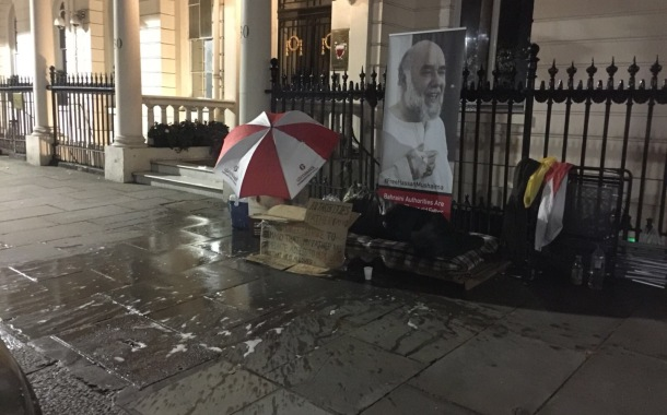 Fake acid attack at Bahrain embassy in London