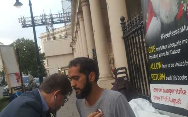 As London-based hunger striker enters the 43rd day of his protest, doctors warn of catastrophic consequences